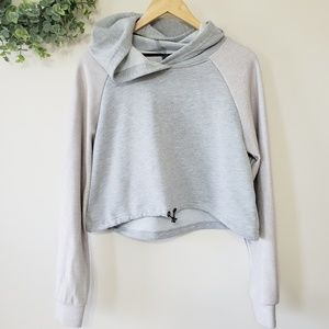 Aero Cropped Hoodie Gray and Blush Pink
